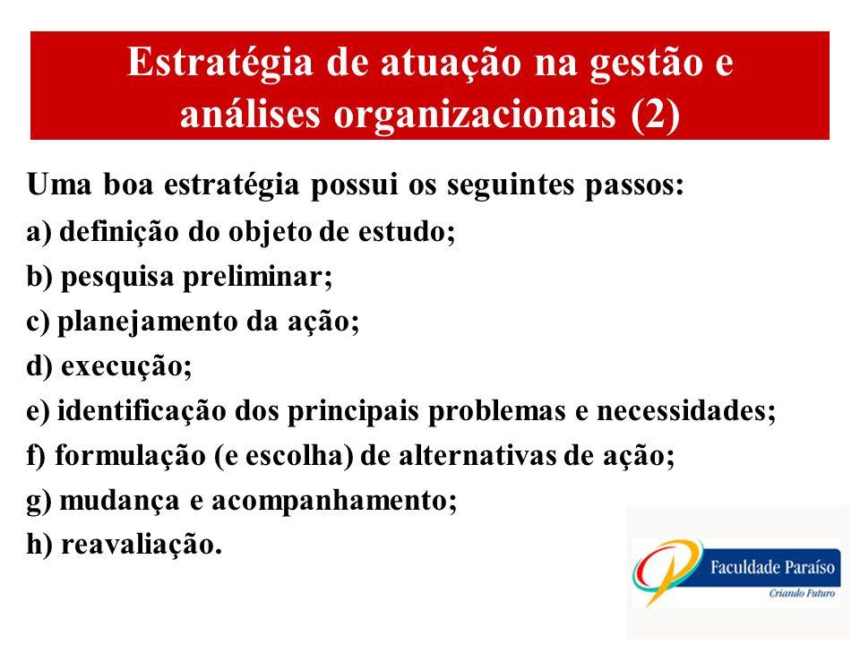 ÁREAS DE ATUAÇÃO Estratégia de atuação na gestão e análises organizacionais (2) Uma boa estratégia possui os seguintes passos: a) definição do objeto