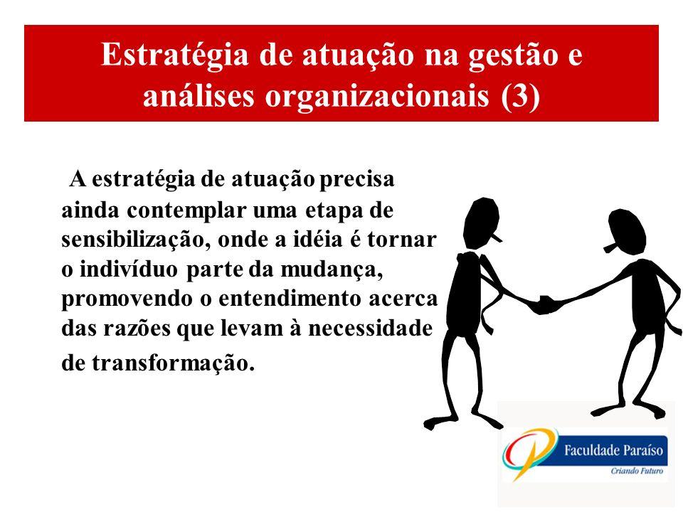 ÁREAS DE ATUAÇÃO Estratégia de atuação na gestão e análises organizacionais (3) A estratégia de atuação precisa ainda contemplar uma etapa de sensibil
