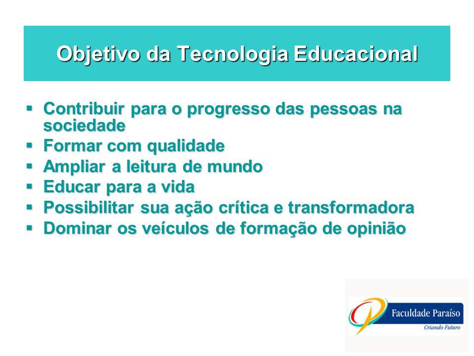 Objetivo da Tecnologia Educacional Contribuir para o progresso das pessoas na sociedade Contribuir para o progresso das pessoas na sociedade Formar co