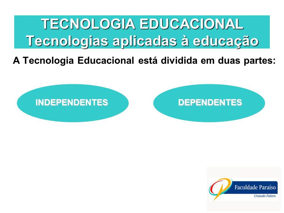 TECNOLOGIA EDUCACIONAL Tecnologias aplicadas à educação A Tecnologia Educacional está dividida em duas partes: INDEPENDENTESDEPENDENTES
