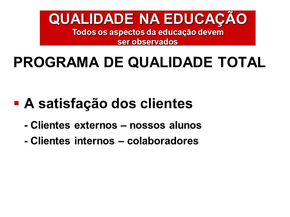 PROGRAMA DE QUALIDADE TOTAL A satisfação dos clientes - Clientes externos – nossos alunos - Clientes internos – colaboradores QUALIDADE NA EDUCAÇÃO To