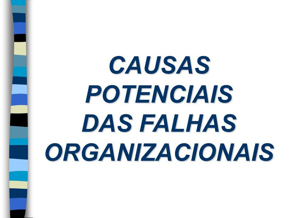 CAUSAS POTENCIAIS DAS FALHAS ORGANIZACIONAIS