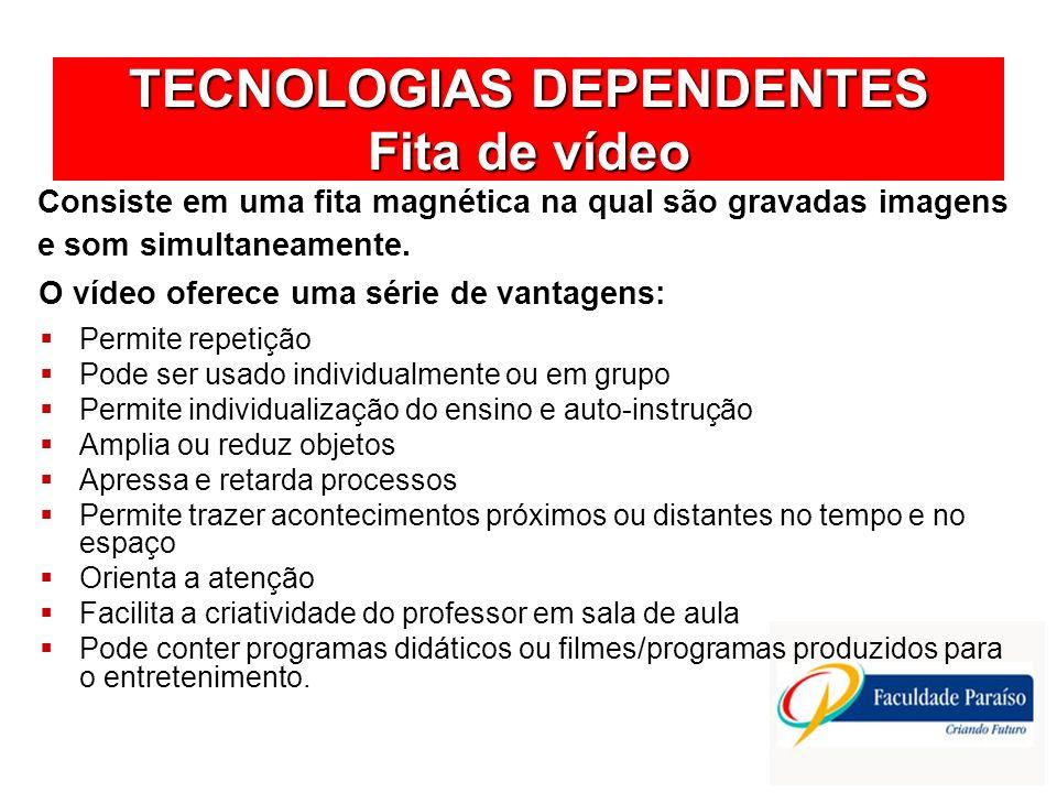 TECNOLOGIAS DEPENDENTES Fita de vídeo Antes e depois da apresentação do vídeo o professor precisa tomar algumas providências: Preparar de antemão a projeção, elaborando roteiro e verificando as condições da fita e do videocassete.