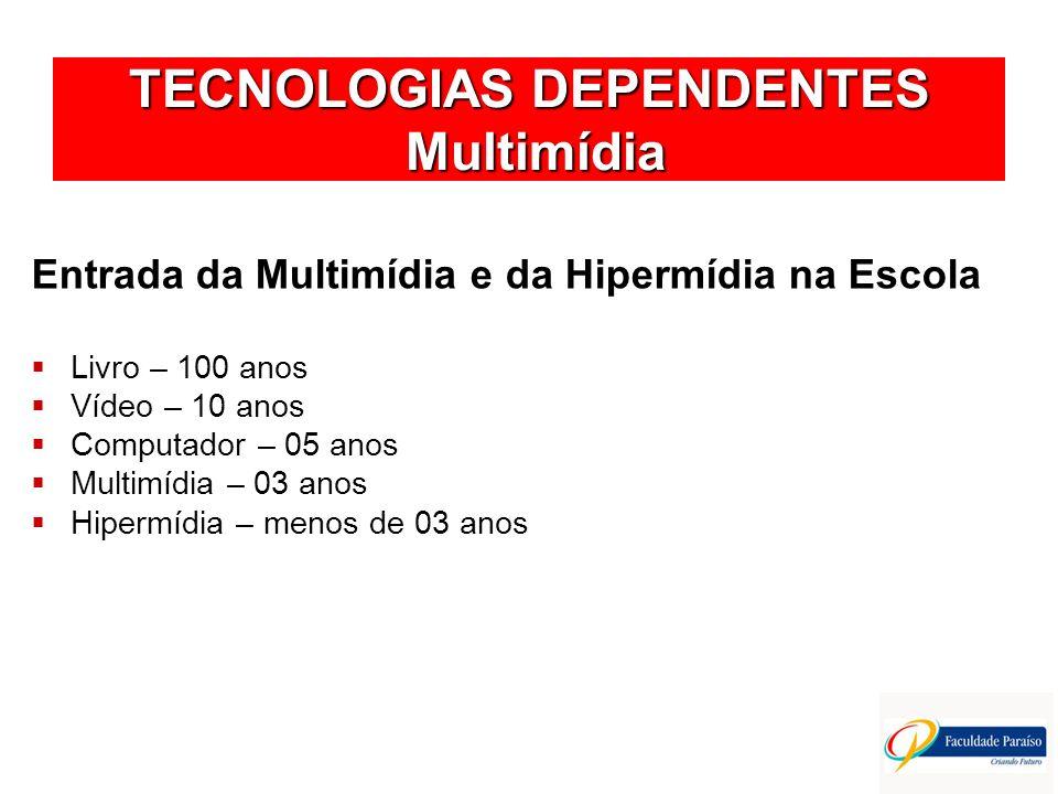 TECNOLOGIAS DEPENDENTES Multimídia Entrada da Multimídia e da Hipermídia na Escola Livro – 100 anos Vídeo – 10 anos Computador – 05 anos Multimídia –