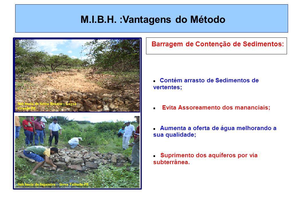 M.I.B.H. :Vantagens do Método Barragem de Contenção de Sedimentos: Contém arrasto de Sedimentos de vertentes; Evita Assoreamento dos mananciais; Aumen