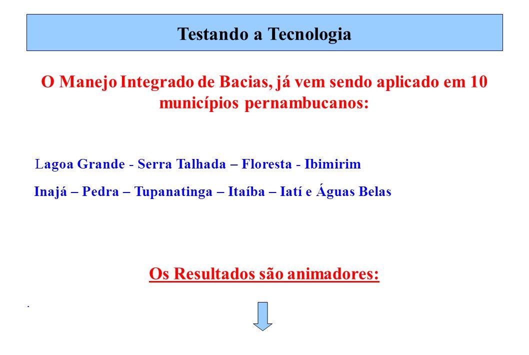 Testando a Tecnologia O Manejo Integrado de Bacias, já vem sendo aplicado em 10 municípios pernambucanos: Lagoa Grande - Serra Talhada – Floresta - Ib