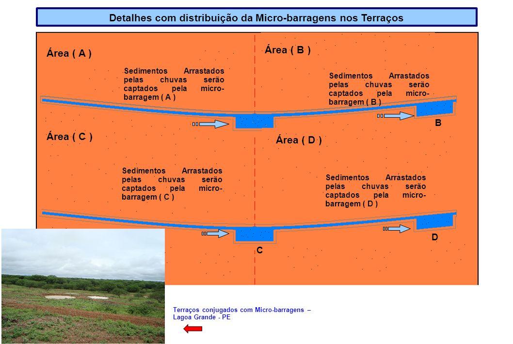 Sedimentos Arrastados pelas chuvas serão captados pela micro- barragem ( A ) Área ( A ) Área ( B ) Sedimentos Arrastados pelas chuvas serão captados p