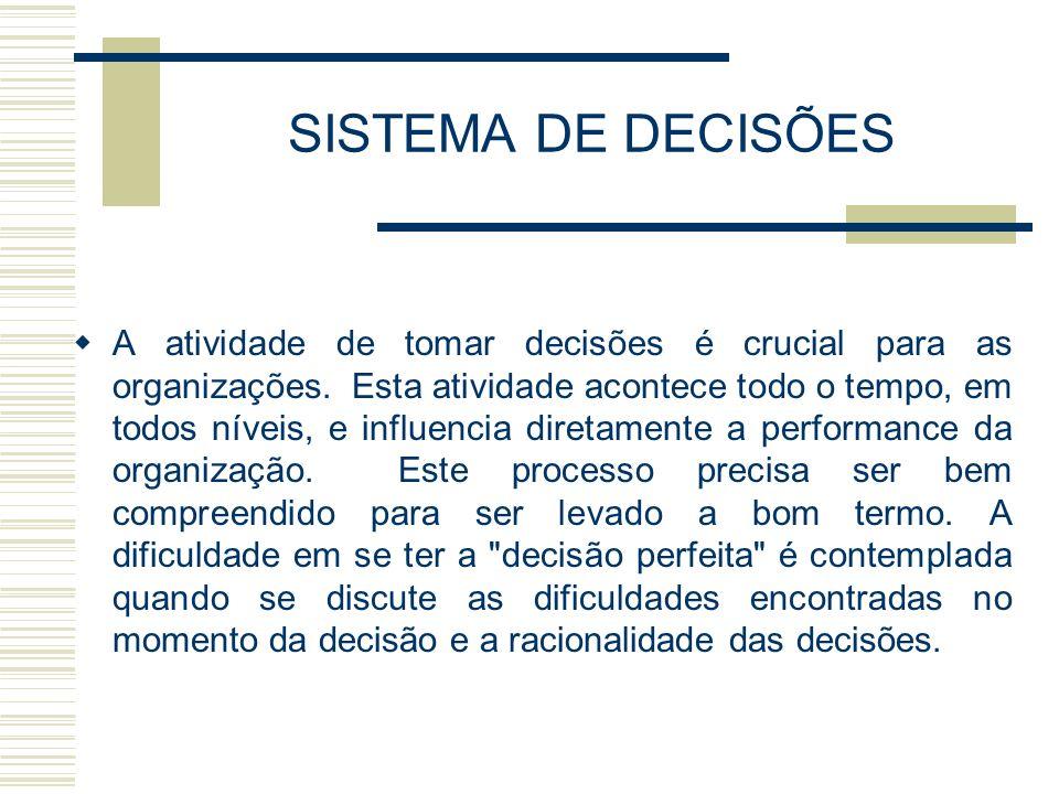 SISTEMA DE DECISÕES A atividade de tomar decisões é crucial para as organizações. Esta atividade acontece todo o tempo, em todos níveis, e influencia