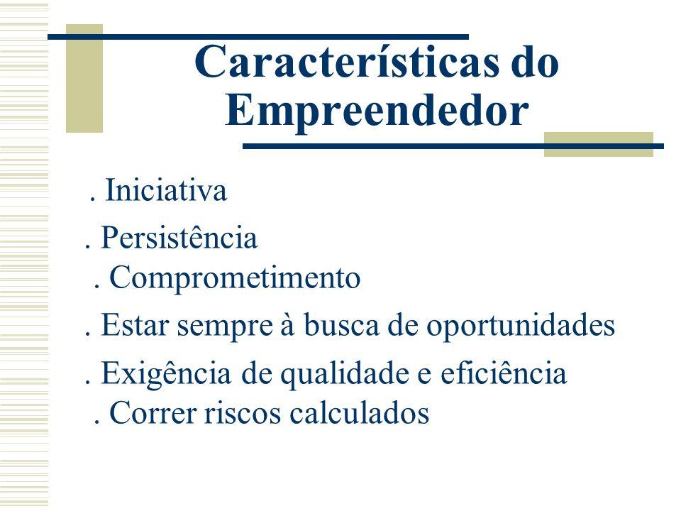 Características do Empreendedor. Iniciativa. Persistência. Comprometimento. Estar sempre à busca de oportunidades. Exigência de qualidade e eficiência