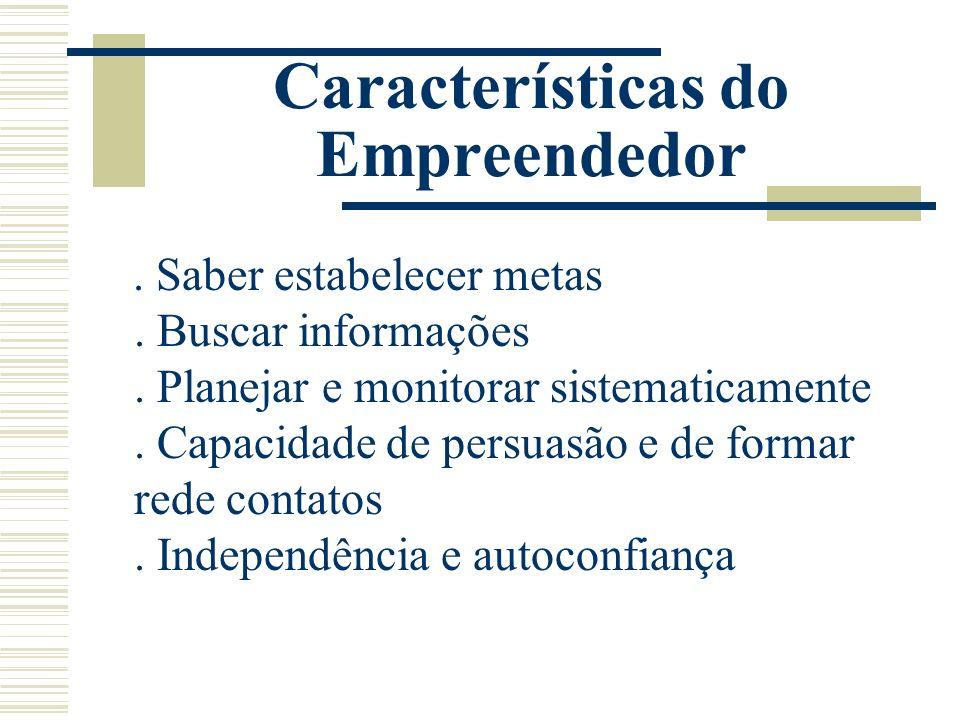 Características do Empreendedor. Saber estabelecer metas. Buscar informações. Planejar e monitorar sistematicamente. Capacidade de persuasão e de form