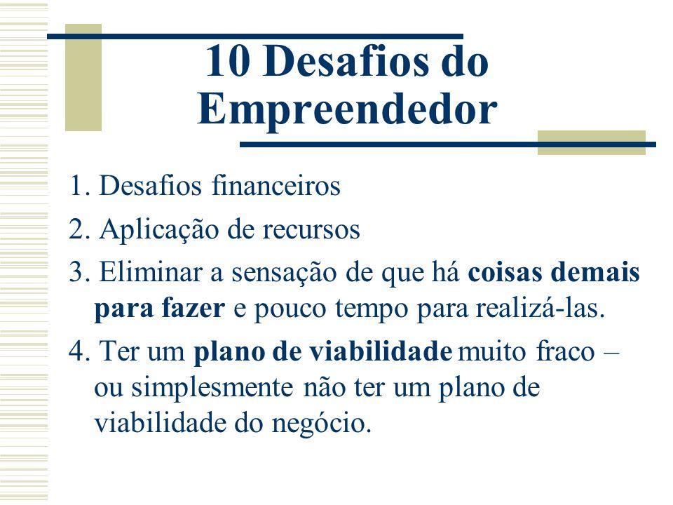 10 Desafios do Empreendedor 1. Desafios financeiros 2. Aplicação de recursos 3. Eliminar a sensação de que há coisas demais para fazer e pouco tempo p