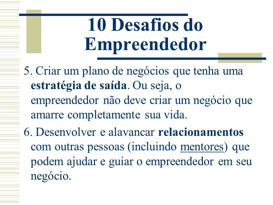 10 Desafios do Empreendedor 5. Criar um plano de negócios que tenha uma estratégia de saída. Ou seja, o empreendedor não deve criar um negócio que ama