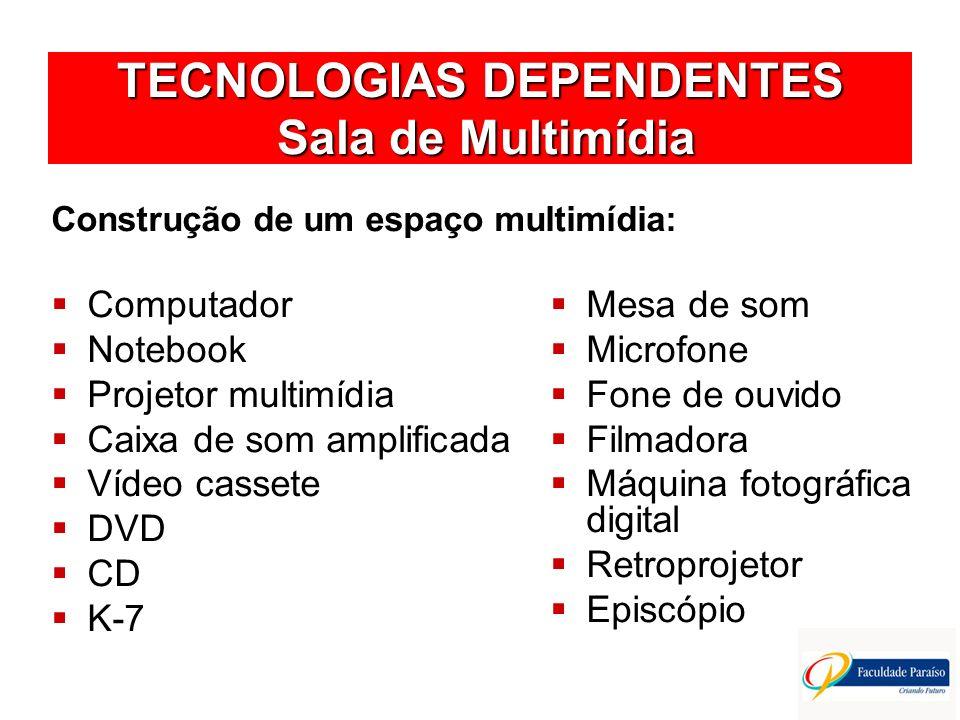 TECNOLOGIAS DEPENDENTES Multimídia O ambiente de multimídia reúne todas as formas de informação e todas as tecnologias interativas de formação: Texto Som Gráficos Imagem fixa Imagem em movimento