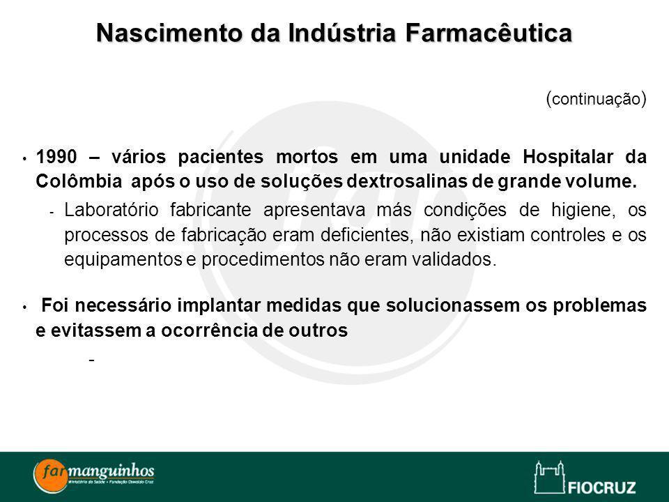 ( continuação ) 1990 – vários pacientes mortos em uma unidade Hospitalar da Colômbia após o uso de soluções dextrosalinas de grande volume. - Laborató