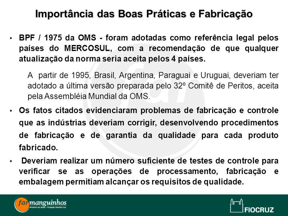 BPF / 1975 da OMS - foram adotadas como referência legal pelos países do MERCOSUL, com a recomendação de que qualquer atualização da norma seria aceit