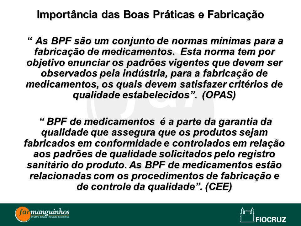 As BPF são um conjunto de normas mínimas para a fabricação de medicamentos. Esta norma tem por objetivo enunciar os padrões vigentes que devem ser obs