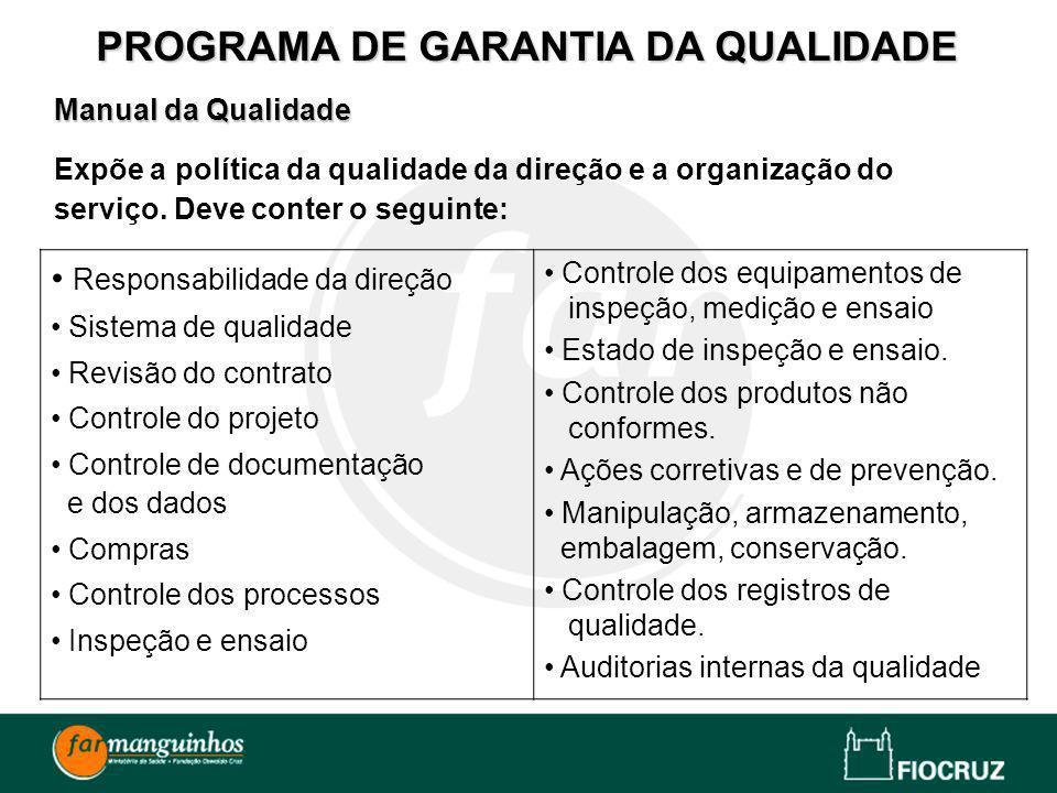 Manual da Qualidade Expõe a política da qualidade da direção e a organização do serviço. Deve conter o seguinte: PROGRAMA DE GARANTIA DA QUALIDADE Res
