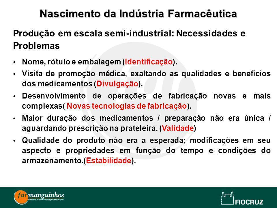 Produção em escala semi-industrial: Necessidades e Problemas Nome, rótulo e embalagem (Identificação). Visita de promoção médica, exaltando as qualida