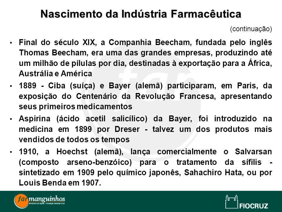 (continuação) Final do século XIX, a Companhia Beecham, fundada pelo inglês Thomas Beecham, era uma das grandes empresas, produzindo até um milhão de