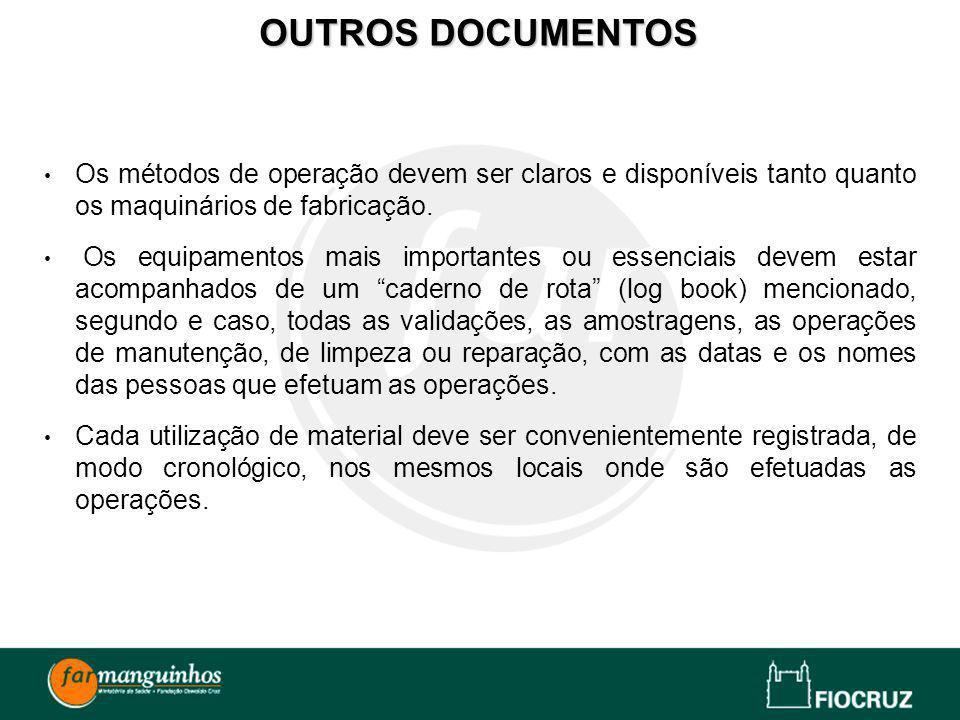 Os métodos de operação devem ser claros e disponíveis tanto quanto os maquinários de fabricação. Os equipamentos mais importantes ou essenciais devem