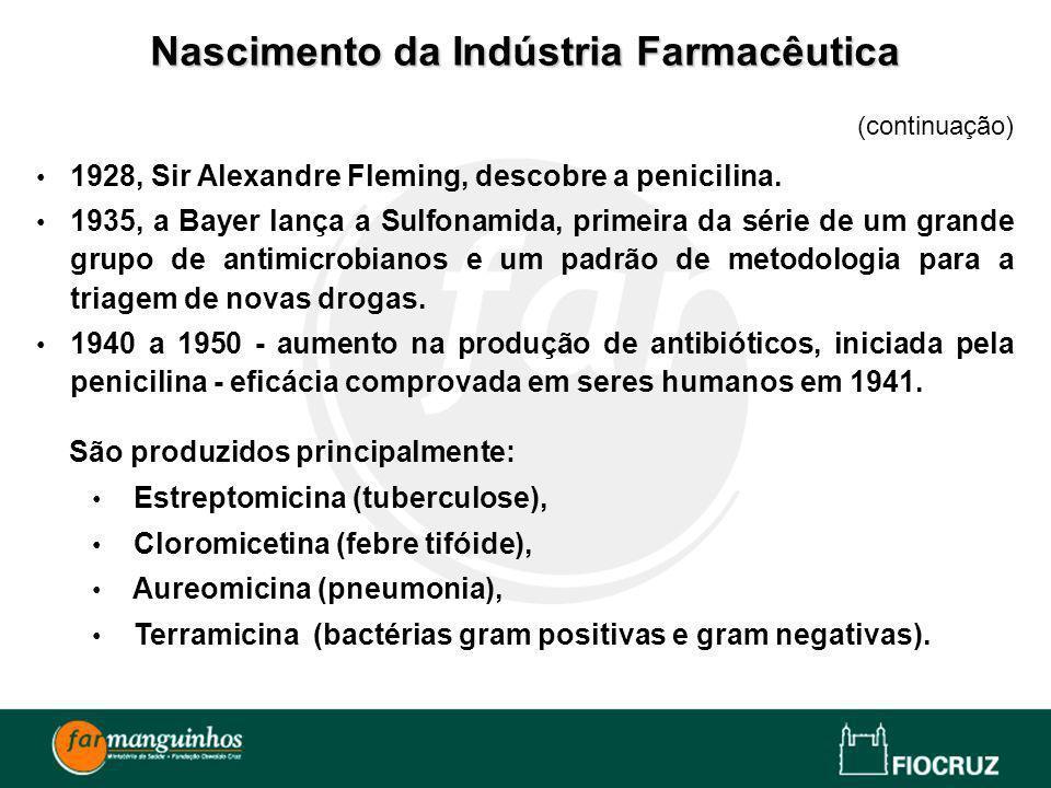 (continuação) 1928, Sir Alexandre Fleming, descobre a penicilina. 1935, a Bayer lança a Sulfonamida, primeira da série de um grande grupo de antimicro