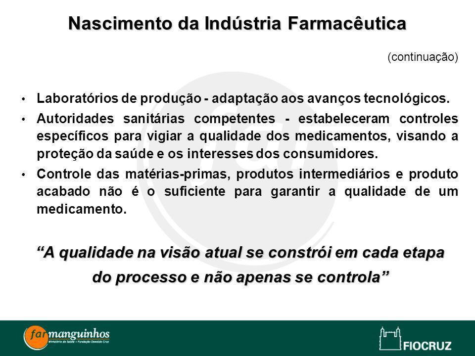 (continuação) Laboratórios de produção - adaptação aos avanços tecnológicos. Autoridades sanitárias competentes - estabeleceram controles específicos