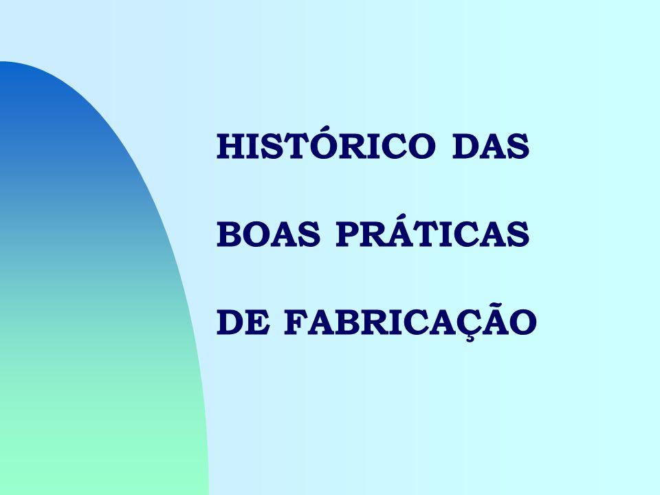 HISTÓRICO DAS BOAS PRÁTICAS DE FABRICAÇÃO
