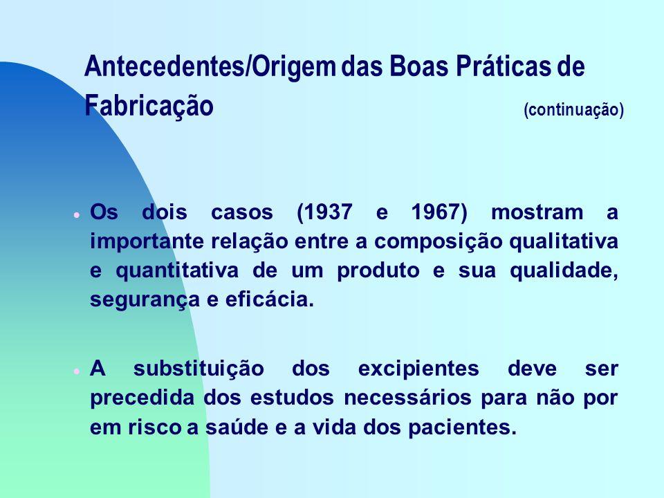 Antecedentes/Origem das Boas Práticas de Fabricação (continuação) Os dois casos (1937 e 1967) mostram a importante relação entre a composição qualitativa e quantitativa de um produto e sua qualidade, segurança e eficácia.