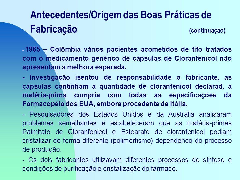 Antecedentes/Origem das Boas Práticas de Fabricação (continuação) 1965 – Colômbia vários pacientes acometidos de tifo tratados com o medicamento genérico de cápsulas de Cloranfenicol não apresentam a melhora esperada.