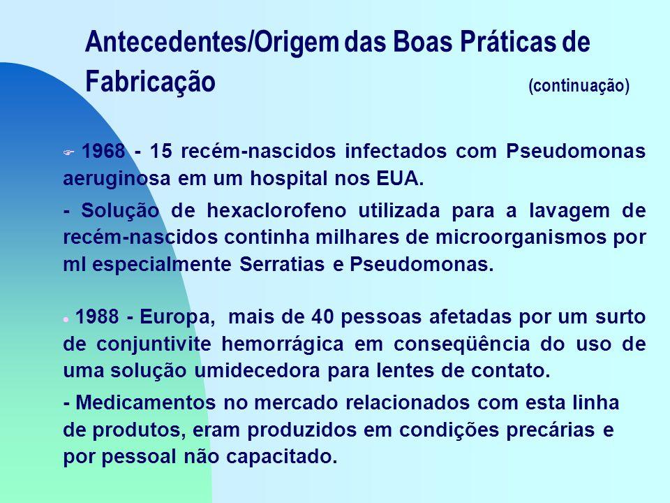 Antecedentes/Origem das Boas Práticas de Fabricação (continuação) F 1968 - 15 recém-nascidos infectados com Pseudomonas aeruginosa em um hospital nos EUA.