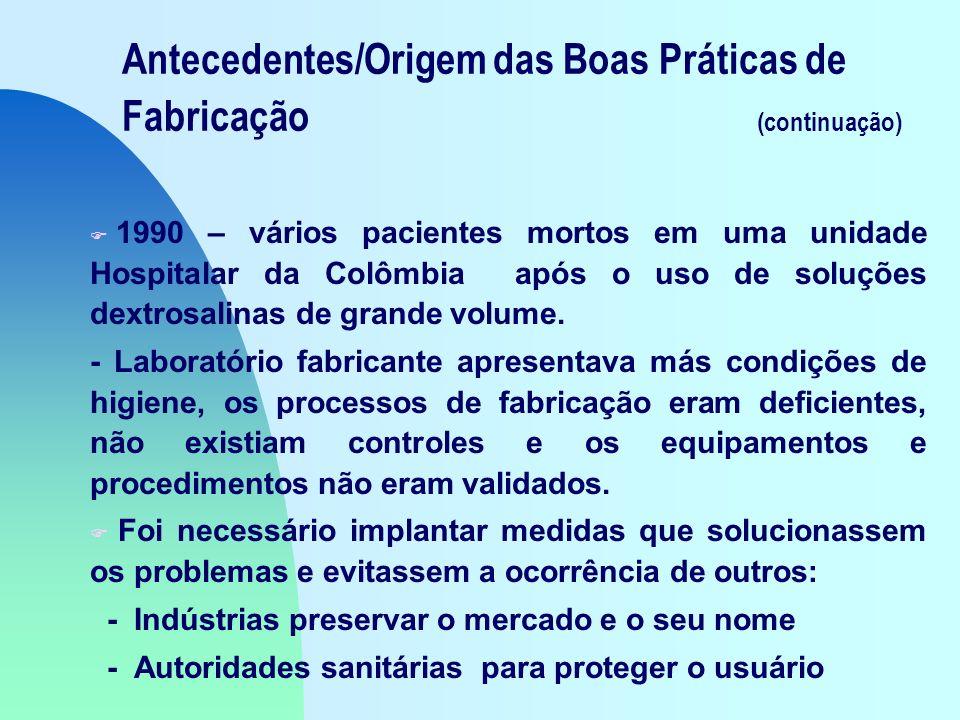 Antecedentes/Origem das Boas Práticas de Fabricação (continuação) F 1990 – vários pacientes mortos em uma unidade Hospitalar da Colômbia após o uso de soluções dextrosalinas de grande volume.