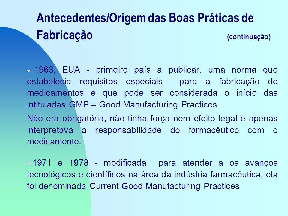Antecedentes/Origem das Boas Práticas de Fabricação (continuação) F 1963, EUA - primeiro país a publicar, uma norma que estabelecia requisitos especiais para a fabricação de medicamentos e que pode ser considerada o início das intituladas GMP – Good Manufacturing Practices.