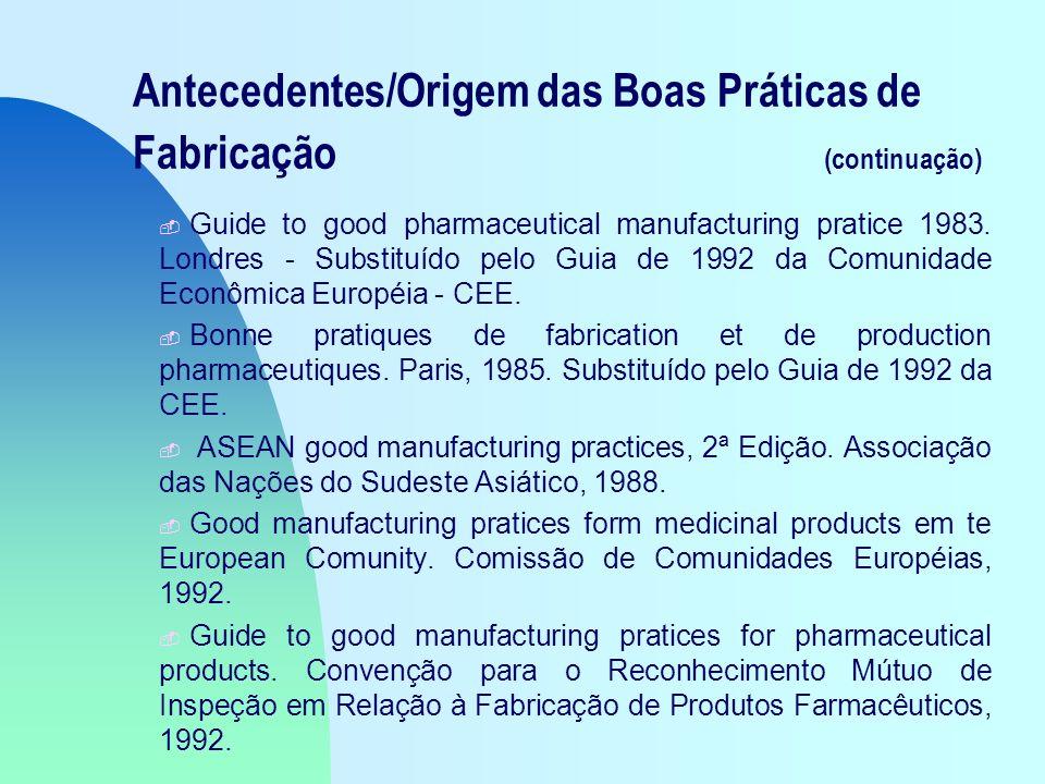 Antecedentes/Origem das Boas Práticas de Fabricação (continuação) - Guide to good pharmaceutical manufacturing pratice 1983.