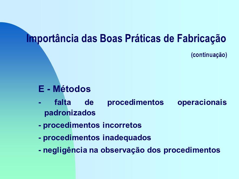 Importância das Boas Práticas de Fabricação (continuação) E - Métodos - falta de procedimentos operacionais padronizados - procedimentos incorretos - procedimentos inadequados - negligência na observação dos procedimentos