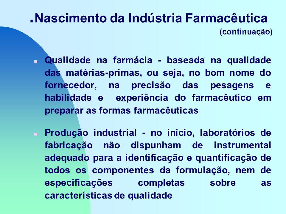 . Nascimento da Indústria Farmacêutica (continuação) n Qualidade na farmácia - baseada na qualidade das matérias-primas, ou seja, no bom nome do fornecedor, na precisão das pesagens e habilidade e experiência do farmacêutico em preparar as formas farmacêuticas n Produção industrial - no início, laboratórios de fabricação não dispunham de instrumental adequado para a identificação e quantificação de todos os componentes da formulação, nem de especificações completas sobre as características de qualidade