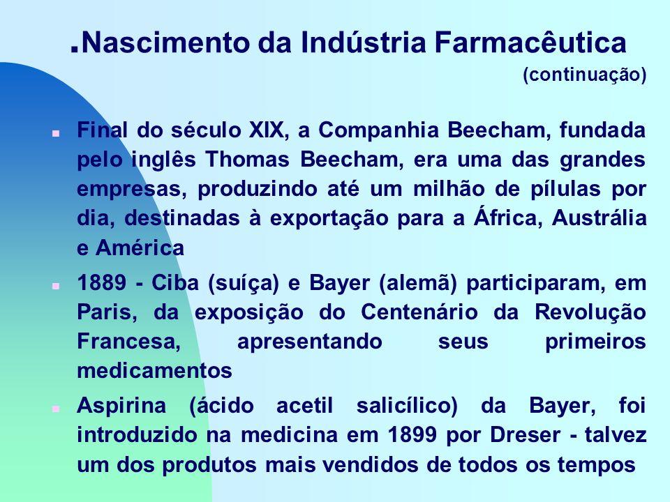 . Nascimento da Indústria Farmacêutica (continuação) n Final do século XIX, a Companhia Beecham, fundada pelo inglês Thomas Beecham, era uma das grandes empresas, produzindo até um milhão de pílulas por dia, destinadas à exportação para a África, Austrália e América n 1889 - Ciba (suíça) e Bayer (alemã) participaram, em Paris, da exposição do Centenário da Revolução Francesa, apresentando seus primeiros medicamentos n Aspirina (ácido acetil salicílico) da Bayer, foi introduzido na medicina em 1899 por Dreser - talvez um dos produtos mais vendidos de todos os tempos