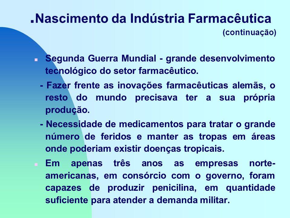 Nascimento da Indústria Farmacêutica (continuação) n Segunda Guerra Mundial - grande desenvolvimento tecnológico do setor farmacêutico.