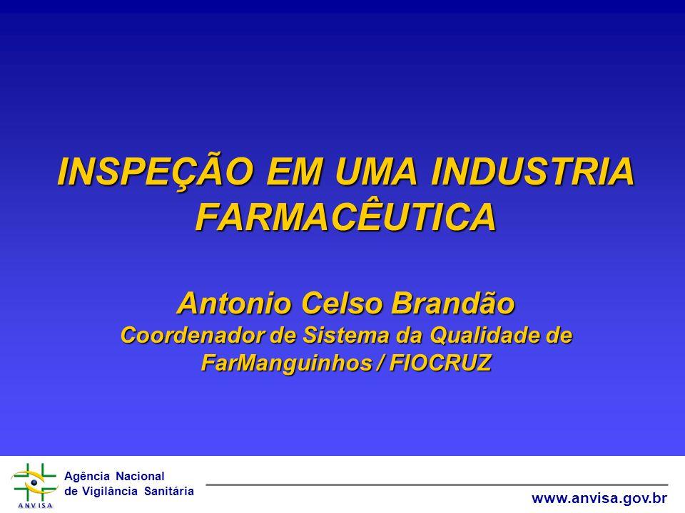 Agência Nacional de Vigilância Sanitária www.anvisa.gov.br INSPEÇÃO EM UMA INDUSTRIA FARMACÊUTICA Antonio Celso Brandão Coordenador de Sistema da Qual