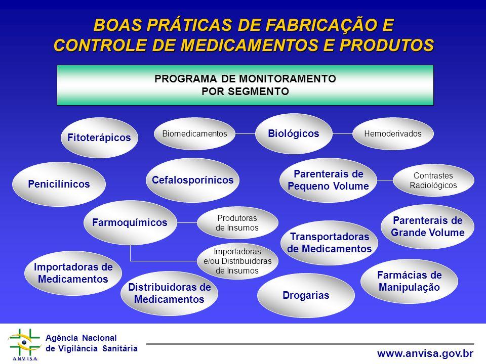 Agência Nacional de Vigilância Sanitária www.anvisa.gov.br PROGRAMA DE MONITORAMENTO POR SEGMENTO BOAS PRÁTICAS DE FABRICAÇÃO E CONTROLE DE MEDICAMENT