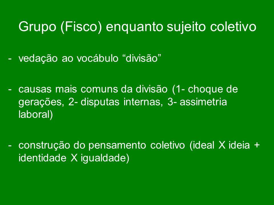 Grupo (Fisco) enquanto sujeito coletivo -vedação ao vocábulo divisão -causas mais comuns da divisão (1- choque de gerações, 2- disputas internas, 3- assimetria laboral) -construção do pensamento coletivo (ideal X ideia + identidade X igualdade)