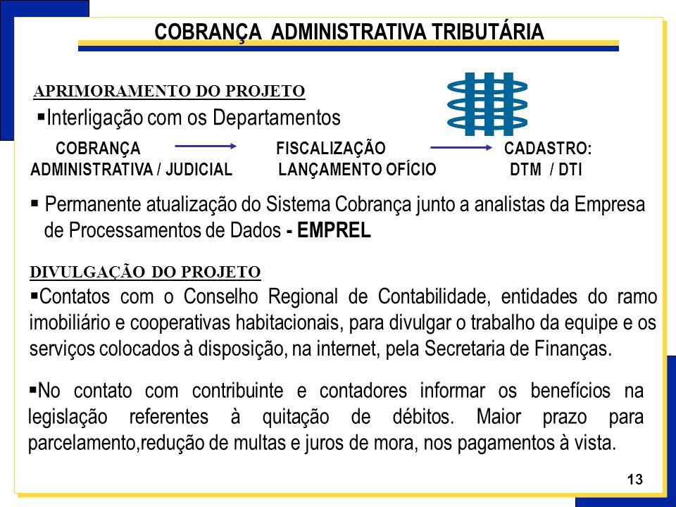 13 APRIMORAMENTO DO PROJETO COBRANÇA FISCALIZAÇÃO CADASTRO: ADMINISTRATIVA / JUDICIAL LANÇAMENTO OFÍCIO DTM / DTI Permanente atualização do Sistema Co