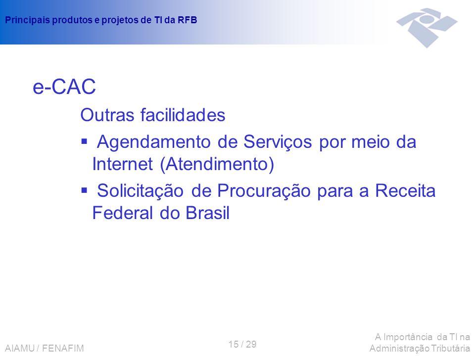 AIAMU / FENAFIM 15 / 29 A Importância da TI na Administração Tributária Principais produtos e projetos de TI da RFB e-CAC Outras facilidades Agendamen