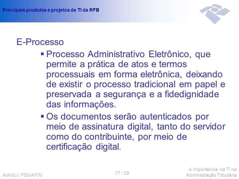 AIAMU / FENAFIM 17 / 29 A Importância da TI na Administração Tributária Principais produtos e projetos de TI da RFB E-Processo Processo Administrativo
