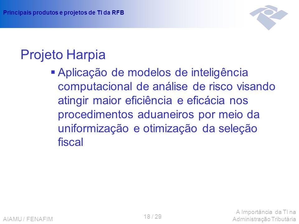 AIAMU / FENAFIM 18 / 29 A Importância da TI na Administração Tributária Principais produtos e projetos de TI da RFB Projeto Harpia Aplicação de modelo