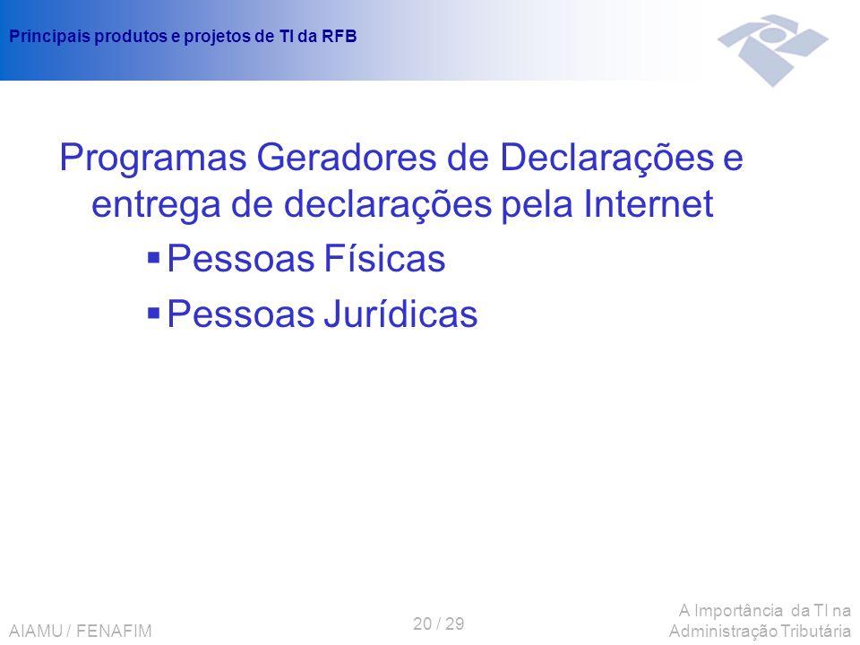 AIAMU / FENAFIM 20 / 29 A Importância da TI na Administração Tributária Principais produtos e projetos de TI da RFB Programas Geradores de Declarações
