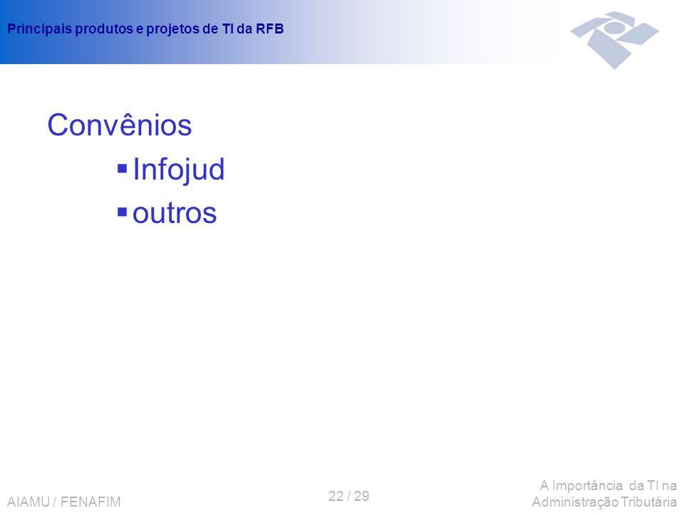 AIAMU / FENAFIM 22 / 29 A Importância da TI na Administração Tributária Principais produtos e projetos de TI da RFB Convênios Infojud outros