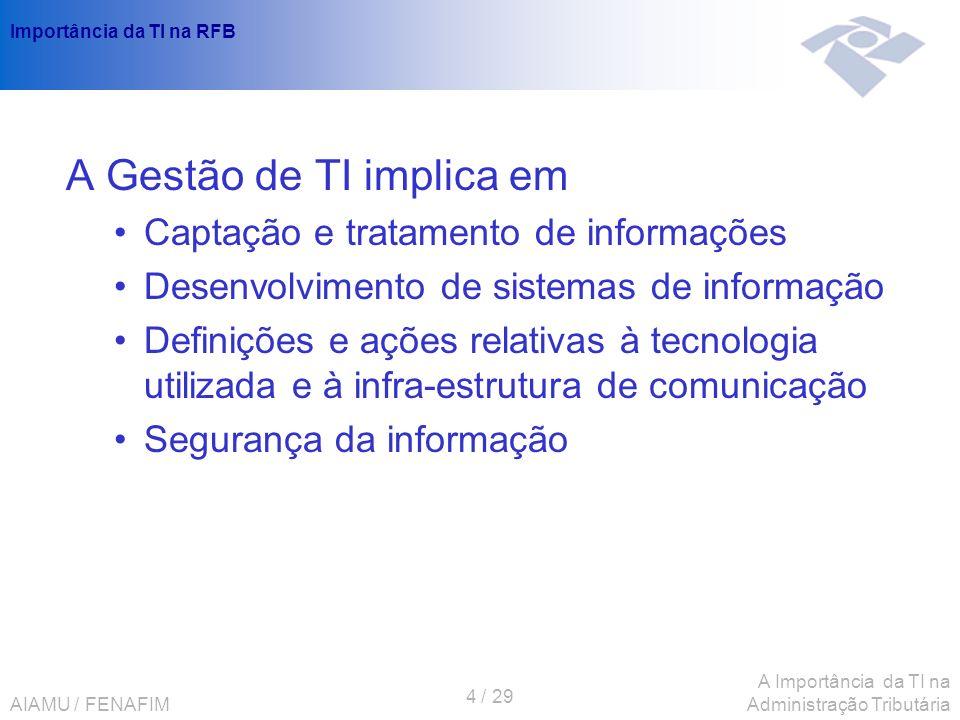 AIAMU / FENAFIM 4 / 29 A Importância da TI na Administração Tributária Importância da TI na RFB A Gestão de TI implica em Captação e tratamento de inf