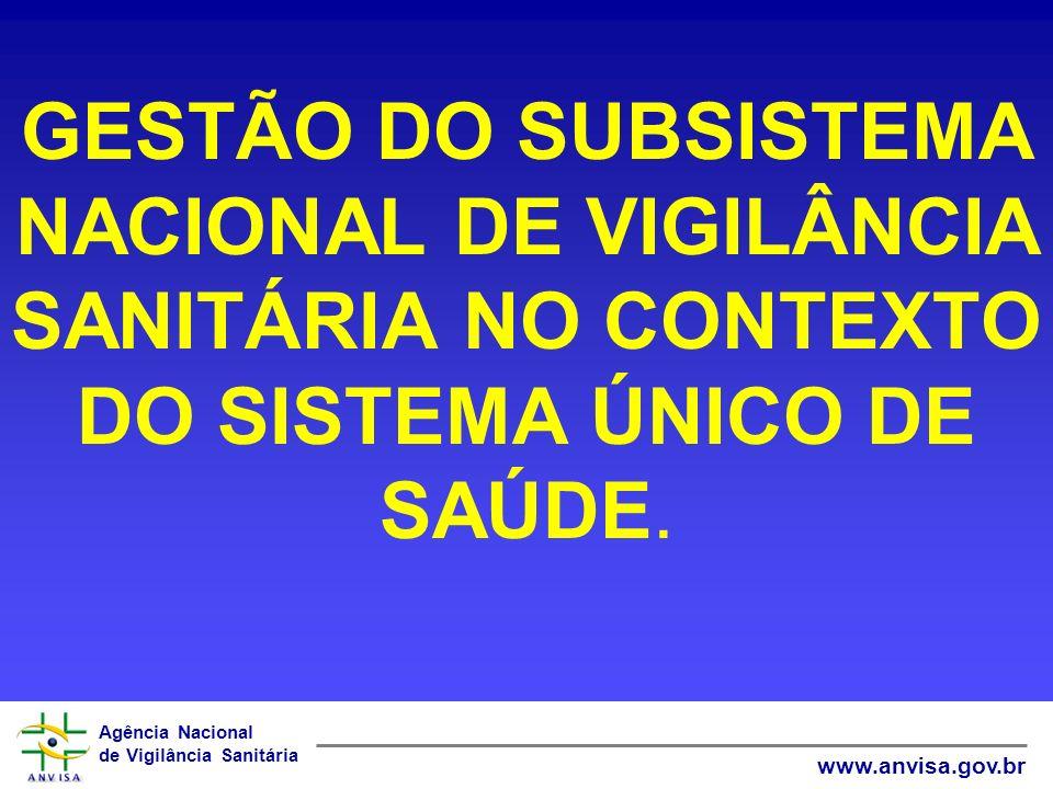 Agência Nacional de Vigilância Sanitária www.anvisa.gov.br VIGILÂNCIA SANITÁRIA NA LEI ORGÂNICA DA SAÚDE CONCEITO AMPLO: ART.6º (...) § 1º - ENTENDE-SE POR VIGILÂNCIA SANITÁRIA UM CONJUNTO DE AÇÕES CAPAZES DE ELIMINAR, DIMINUIR OU PREVENIR RISCOS À SAÚDE E DE INTERVIR NOS PROBLEMAS SANITÁRIOS DECORRENTES DO MEIO AMBIENTE, DA PRODUÇÃO E CIRCULAÇÃO DE BENS E DA PRESTAÇÃO DE SERVIÇOS DE INTERESSE DE SAÚDE, ABRANGENDO: