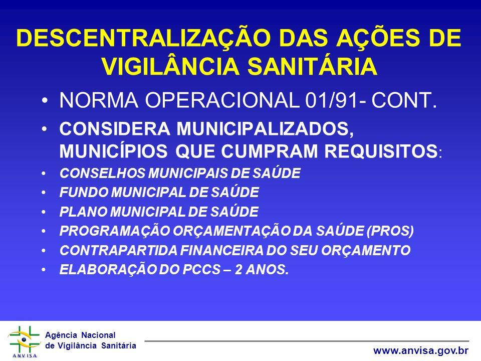 Agência Nacional de Vigilância Sanitária www.anvisa.gov.br DESCENTRALIZAÇÃO DAS AÇÕES DE VIGILÂNCIA SANITÁRIA NORMA OPERACIONAL 01/91- CONT. CONSIDERA