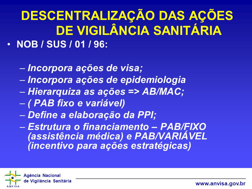 Agência Nacional de Vigilância Sanitária www.anvisa.gov.br DESCENTRALIZAÇÃO DAS AÇÕES DE VIGILÂNCIA SANITÁRIA NOB / SUS / 01 / 96: –Incorpora ações de